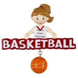 Buy Basketball Girl Personalized Sports Ornaments from OrnamentPlus Personalized Christmas Ornaments Shop