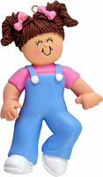 Buy First Steps Girl Brown Hair Personalized Kids Ornament from OrnamentPlus Personalized Christmas Ornaments Shop