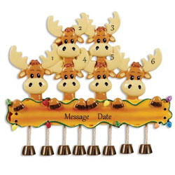 Buy Moose Family of 6 Personalized Family Ornament from OrnamentPlus Personalized Christmas Ornaments Shop