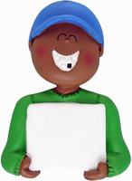 Buy Boy Dark Skin Lost Tooth Kids Ornament from OrnamentPlus Personalized Christmas Ornaments Shop