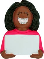 Buy Braces Girl Dark Skin Personalized Kids Ornament from OrnamentPlus Personalized Christmas Ornaments Shop