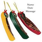 Buy Wood Canoe Personalized Yellow Green or Red Travel Ornament from OrnamentPlus Personalized Christmas Ornaments Shop