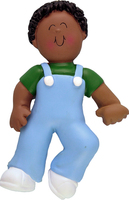 Buy First Steps Dark Skin Boy Personalized Kids Ornament from OrnamentPlus Personalized Christmas Ornaments Shop
