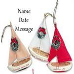 Buy Sailboat Wood Personalized White Red or Tan Travel Ornament from OrnamentPlus Personalized Christmas Ornaments Shop