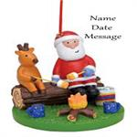 Buy Santa and Reindeer at Campfire Personalized Travel Ornament from OrnamentPlus Personalized Christmas Ornaments Shop