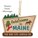Buy Welcome to Maine Sign Personalized Travel Ornament from OrnamentPlus Personalized Christmas Ornaments Shop